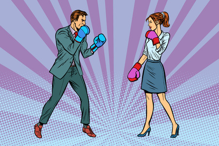 Donna Combattimenti di boxe con l'uomo. Pop art retrò illustrazione vettoriale kitsch vintage