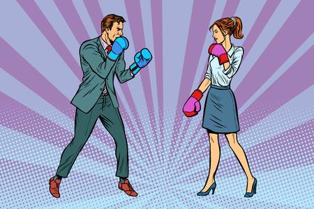 Mujer Peleas de boxeo con hombre. Ilustración de vector retro pop art kitsch vintage