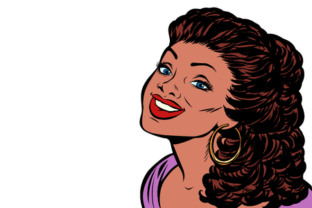 Black woman smiling. Isolate on white background. Pop art retro vector illustration kitsch vintage drawing