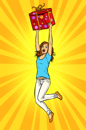 Joyful young woman jumping up with a gift. Pop art retro vector illustration kitsch vintage Illustration