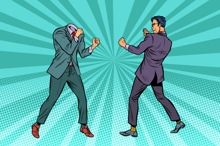 Two men businessman fighting. Pattern without head. Pop art retro vector illustration kitsch vintage Illustration