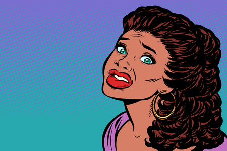 woman scared, African American people. Pop art retro vector illustration kitsch vintage drawing