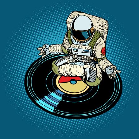 Astronaut man meditates to music, yoga. Pop art retro vector illustration kitsch vintage