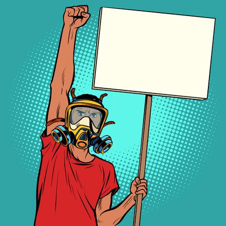 Hombre africano protesta contra el aire contaminado, la ecología y el medio ambiente. Arte pop retro ilustración vectorial dibujo kitsch vintage