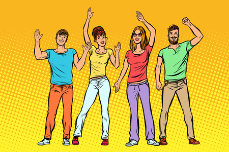 greeting. a group of people waving their hands. Pop art retro vector illustration kitsch vintage drawing Standard-Bild - 112300074