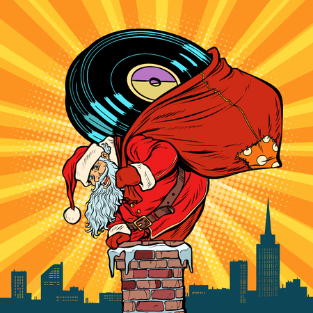 Santa Claus with vinyl records climbs into the chimney. Pop art retro vector illustration vintage kitsch drawing