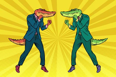 Ein Kampf zwischen zwei Geschäftsmannkrokodilen. Wettbewerbskonzept. Pop-Art Retro Retro Vektor-Illustration Vintage Kitsch Zeichnung Vektorgrafik