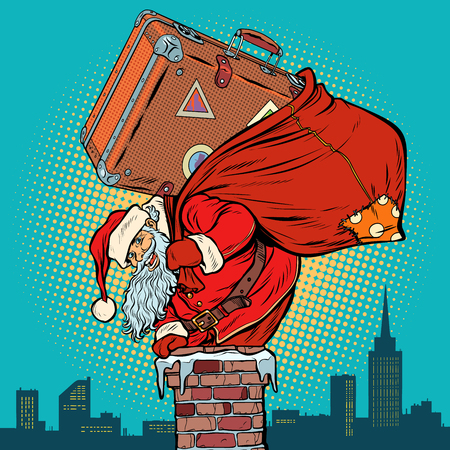 Santa Claus with a suitcase climbs into the chimney. Pop art retro vector illustration vintage kitsch drawing Illustration