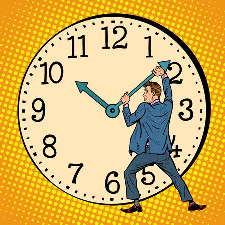 el hombre quiere detener el reloj. Gestión del tiempo. Arte pop retro ilustración vectorial dibujo kitsch vintage