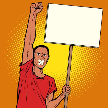 Hombre africano amordazado protestas. Arte pop retro ilustración vectorial dibujo kitsch vintage Ilustración de vector