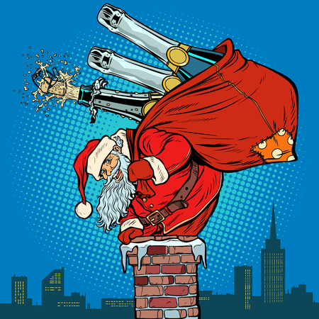 Santa Claus with champagne climbs the chimney. Pop art retro vector illustration vintage kitsch drawing