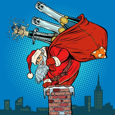 Weihnachtsmann mit Champagner klettert auf den Schornstein. Pop-Art Retro-Vektor-Illustration Vintage-Kitsch-Zeichnung