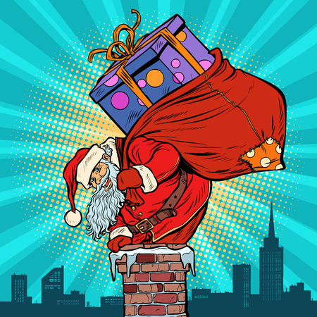 Santa Claus with bag of presents climbing into the chimney. Pop art retro vector illustration vintage kitsch drawing Ilustracja