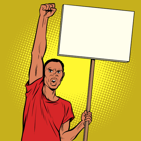 Afrikan man protests with a poster. Pop art retro vector illustration vintage kitsch drawing Stock Illustratie