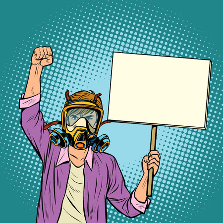 A man in a gas mask protesting against polluted air. Environmental ecology. Pop art retro vector illustration vintage kitsch drawing