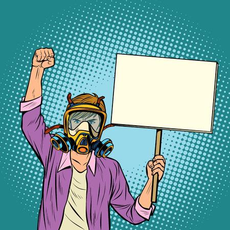 Un hombre con una máscara de gas protestando contra el aire contaminado. Ecología ambiental. Arte pop retro ilustración vectorial dibujo kitsch vintage Ilustración de vector