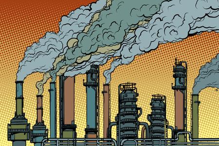 Humo de fábrica de pipas químicas. Ecología e industria. Arte pop retro ilustración vectorial dibujo kitsch vintage