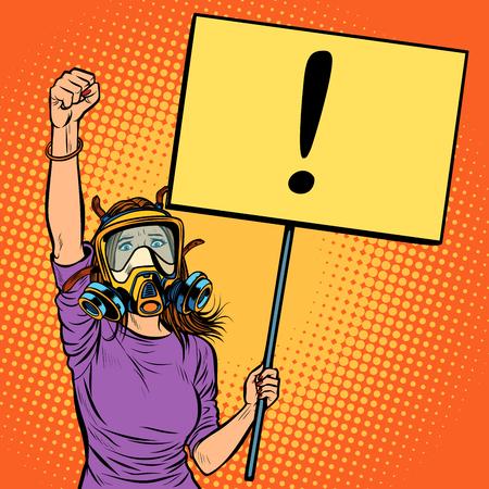 mujer con máscara de gas protestando contra el aire contaminado. Ecología ambiental. Arte pop retro ilustración vectorial dibujo kitsch vintage