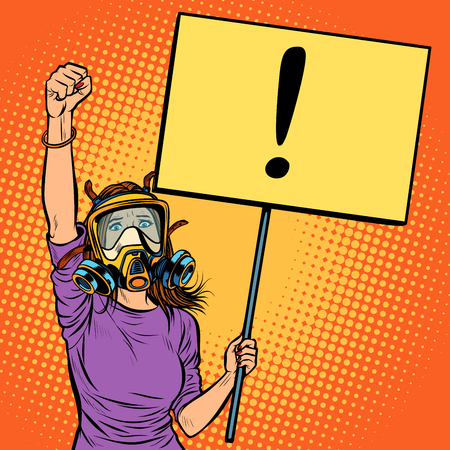 woman in gas mask protesting against polluted air. Environmental ecology. Pop art retro vector illustration vintage kitsch drawing