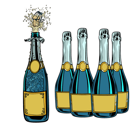 Bottle of champagne. Celebration holiday greetings. New year and anniversary. Pop art retro vector illustration vintage kitsch