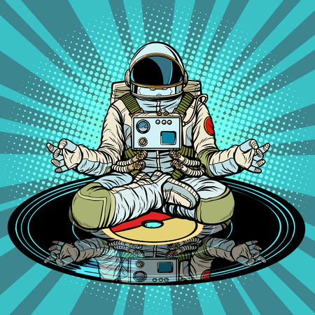 Music for meditation and yoga. Astronaut meditates. Pop art retro vector illustration vintage kitsch