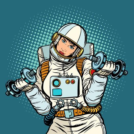 woman astronaut with dumbbells. Pop art retro vector illustration kitsch vintage drawing Vetores