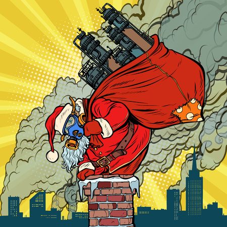 Ecology factory pipe, dirty air face mask. Santa Claus with gifts climbs into the chimney. Christmas and new year. Pop art retro vector illustration vintage kitsch Zdjęcie Seryjne - 111905140