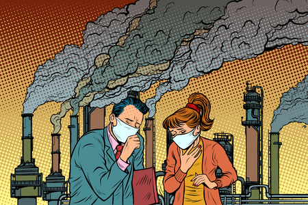 Mann und Frau in einer medizinischen Maske, die vor Industrierauch erstickt. Ökologie und verschmutzte Luft. Pop-Art Retro-Vektor-Illustration Vintage-Kitsch-Zeichnung