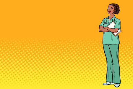 Enfermera africana. Medicina y salud. Pop art retro vector ilustración vintage kitsch Ilustración de vector