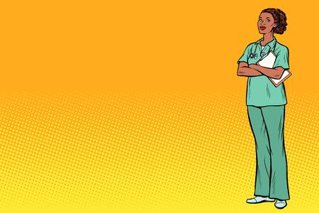 Infermiera africana. Medicina e salute. Pop art retrò illustrazione vettoriale vintage kitsch Vettoriali