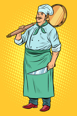 Cook is preparing to make pizza. Pop art retro vector illustration vintage kitsch  イラスト・ベクター素材