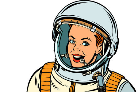 smiling woman astronaut. Isolate on white background. Pop art retro vector illustration kitsch vintage drawing