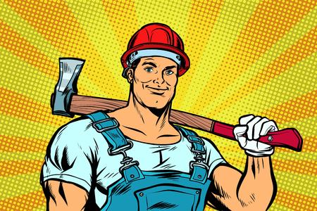 lumberjack woodcutter with axe. Pop art retro vector illustration vintage kitsch