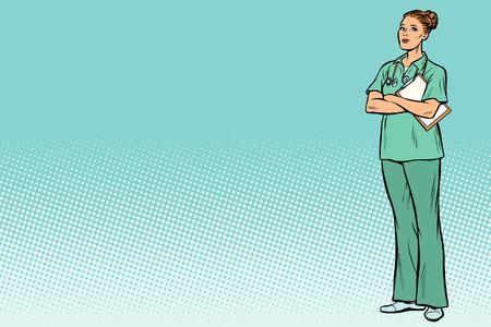 Kaukasische verpleegster. Geneeskunde en gezondheid. Popart retro vector illustratie vintage kitsch