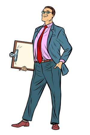Businessman with clipboard. Pop art retro vector illustration vintage kitsch