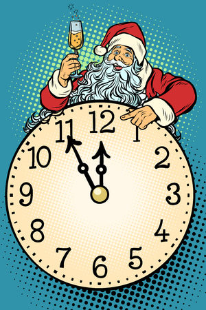 Santa Claus, Christmas time. Champagne celebration at midnight. Pop art retro vector illustration vintage kitsch