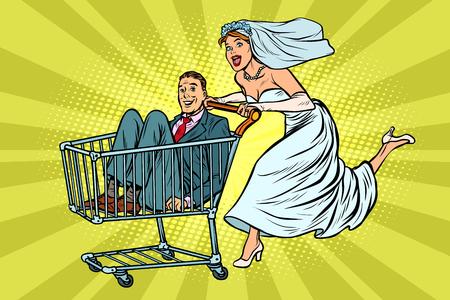 Jeunes mariés dans un caddie. Pop art rétro vector illustration kitsch vintage