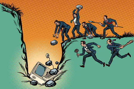 Savages businessmen kill computer. Internet censorship and politics. People against technological progress. Pop art retro vector illustration kitsch vintage