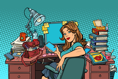 Businesswoman in the workplace. Pop art retro vector illustration vintage kitsch Stock Illustratie