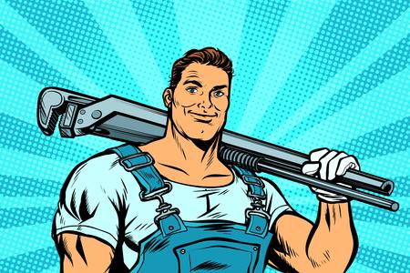 trabajador fontanero con llave ajustable. Pop art retro vector ilustración vintage kitsch