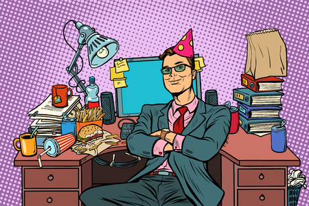 cumpleaños de empresario, lugar de trabajo. Pop art retro vector ilustración vintage kitsch