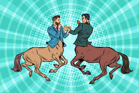 Two centaur businessmen fighting. Pop art retro vector illustration vintage kitsch