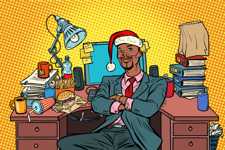 African businessman, Christmas workplace. Pop art retro vector illustration vintage kitsch