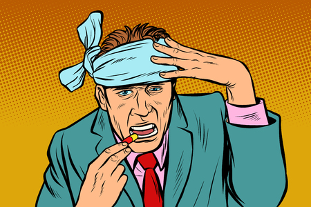hombre con dolor de cabeza toma pastillas. Pop art retro vector ilustración vintage kitsch