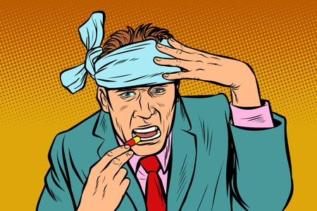 man with headache takes a pills. Pop art retro vector illustration vintage kitsch