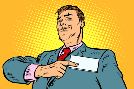Businessman points at a name badge id. Pop art retro vector illustration vintage kitsch