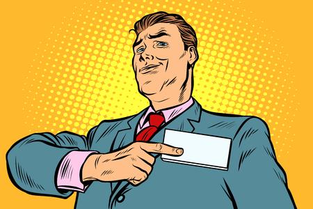 El hombre de negocios apunta a una identificación de placa de identificación. Pop art retro vector ilustración vintage kitsch