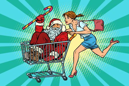 Weihnachtsverkauf. Die Frau hat den Weihnachtsmann gekauft. Einkaufswagenwagen. Pop-Art Retro-Vektor-Illustration Vintage-Kitsch