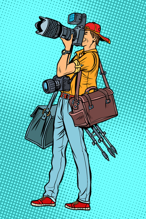 Professional photographer with camera and equipment. Pop art retro vector illustration vintage kitsch