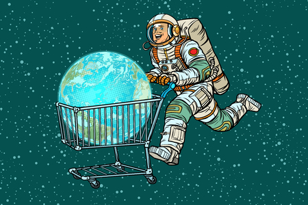 planet earth bought by astronaut, shopping cart trolley sale